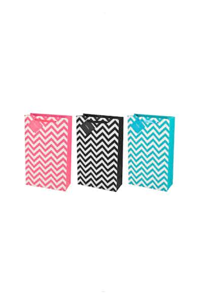 True 2 Bottle Assorted Chevron Wine Bags